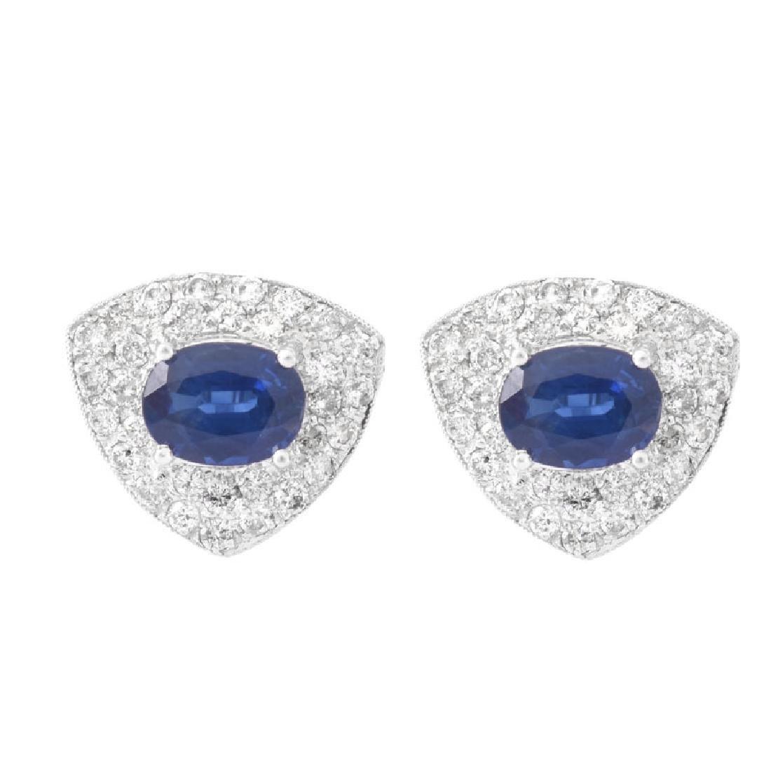 Approx. 3.25 Carat Oval Cut Sapphire, 1.15 carat Pave