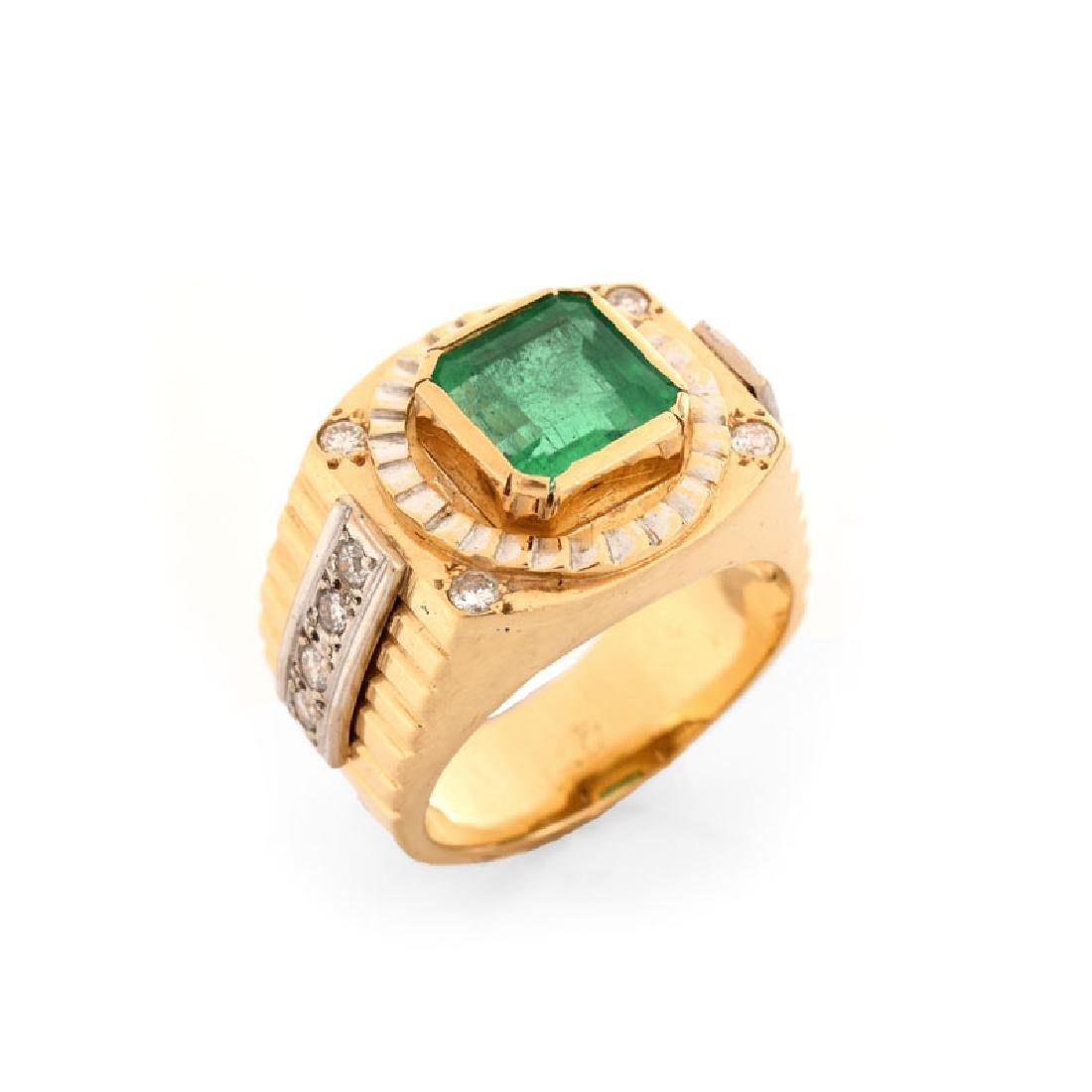 Man's Vintage Approx. 3.50 Carat Emerald, Diamond and
