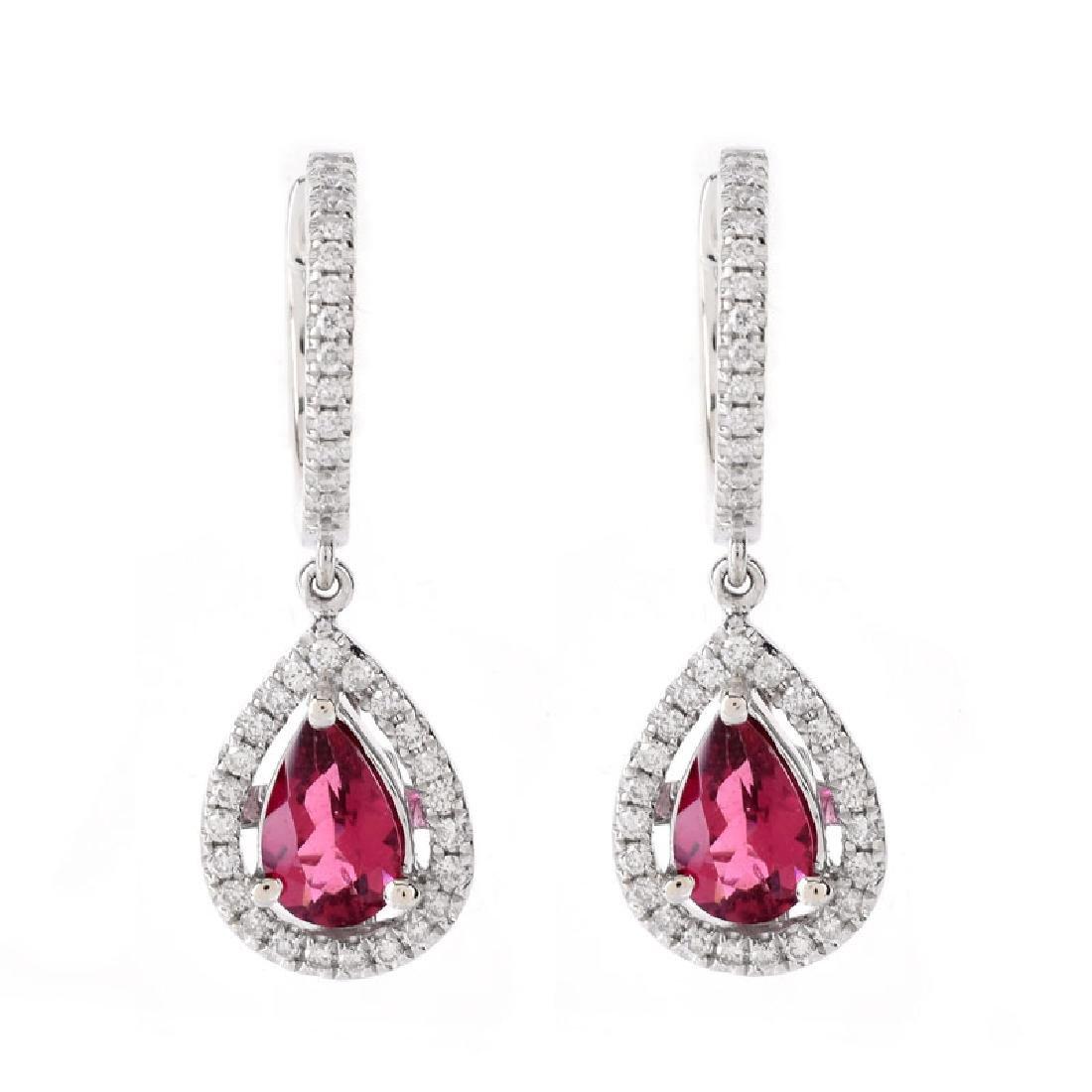 Pear Shape Rubelite Tourmaline, Diamond and 14 Karat