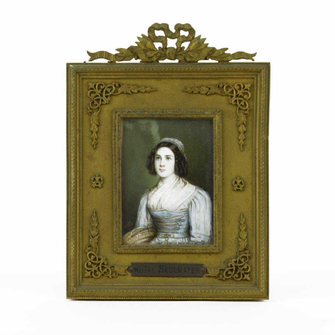 19th C Hand Painted Portrait Miniature of Helene Sedlma