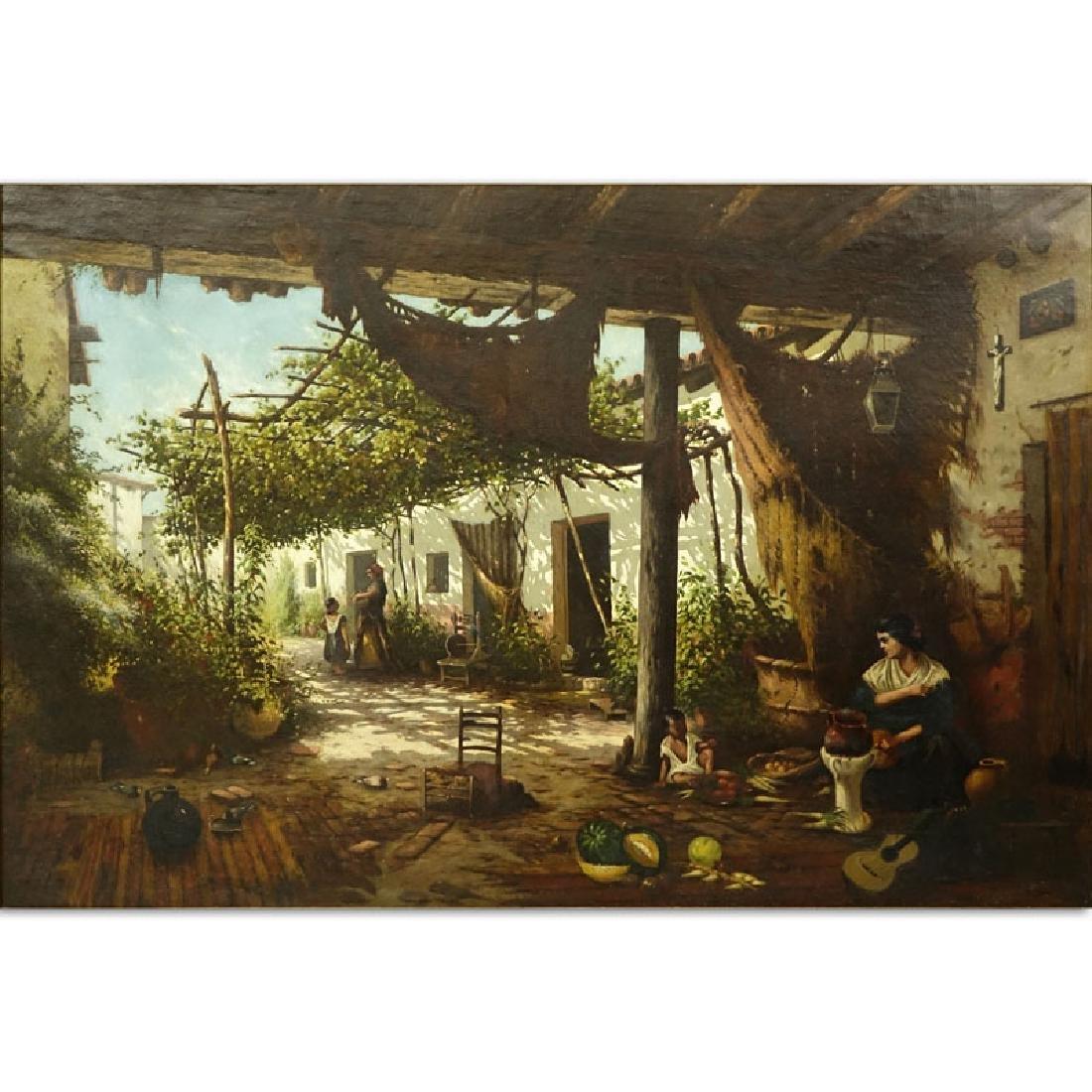 19/20th Century Spanish School Oil Painting On Canvas