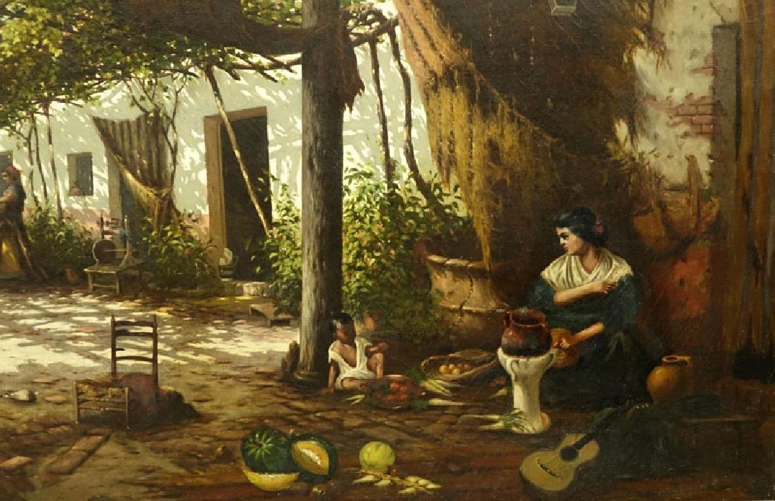 19/20th Century Spanish School Oil Painting On Canvas - 3