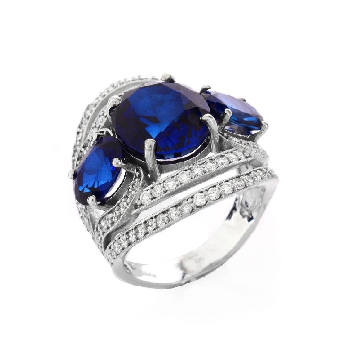Approx. 10.30 Carat Oval Cut Synthetic Sapphire, 1.20