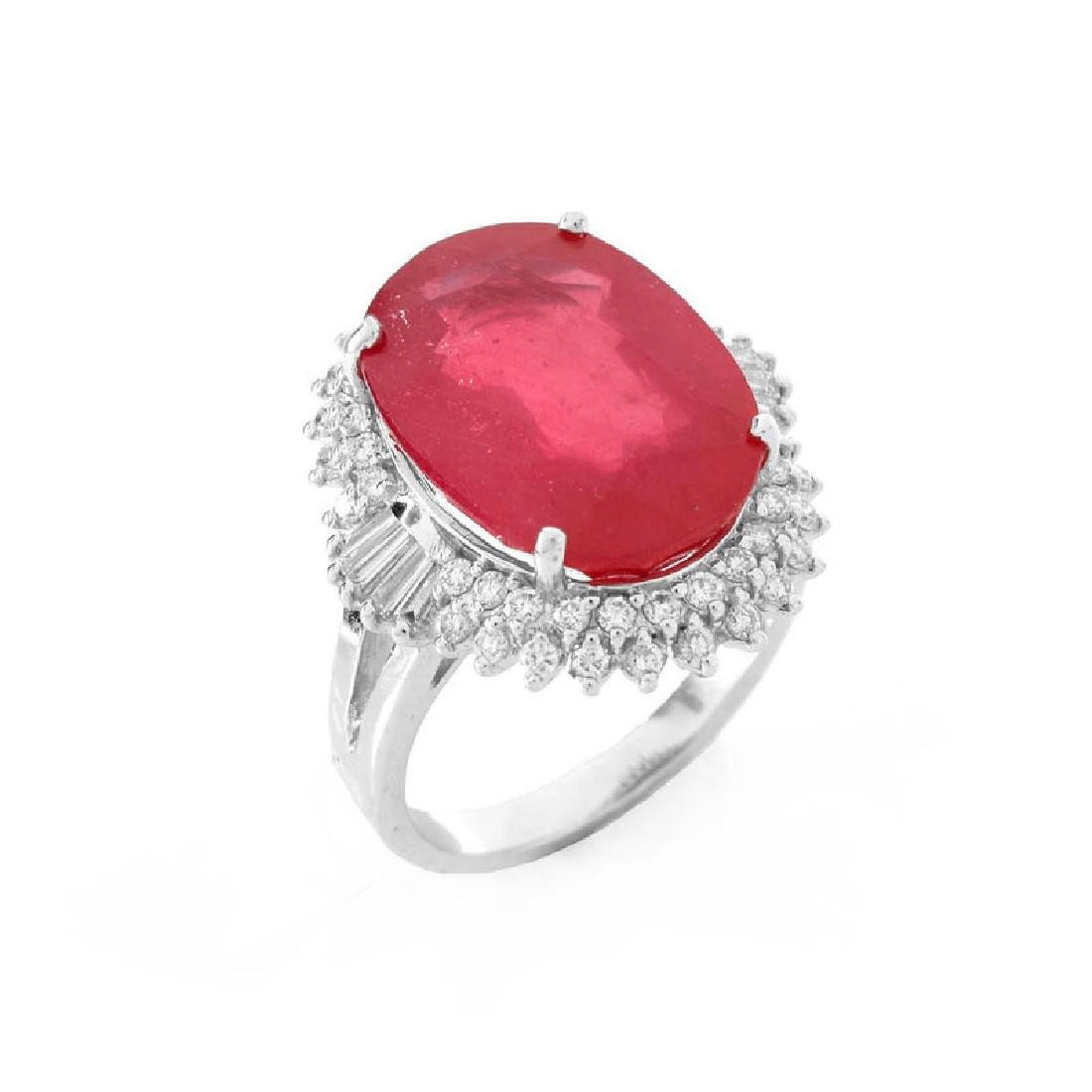 Approx. 11.66 Carat Synthetic Ruby, .75 Carat Round