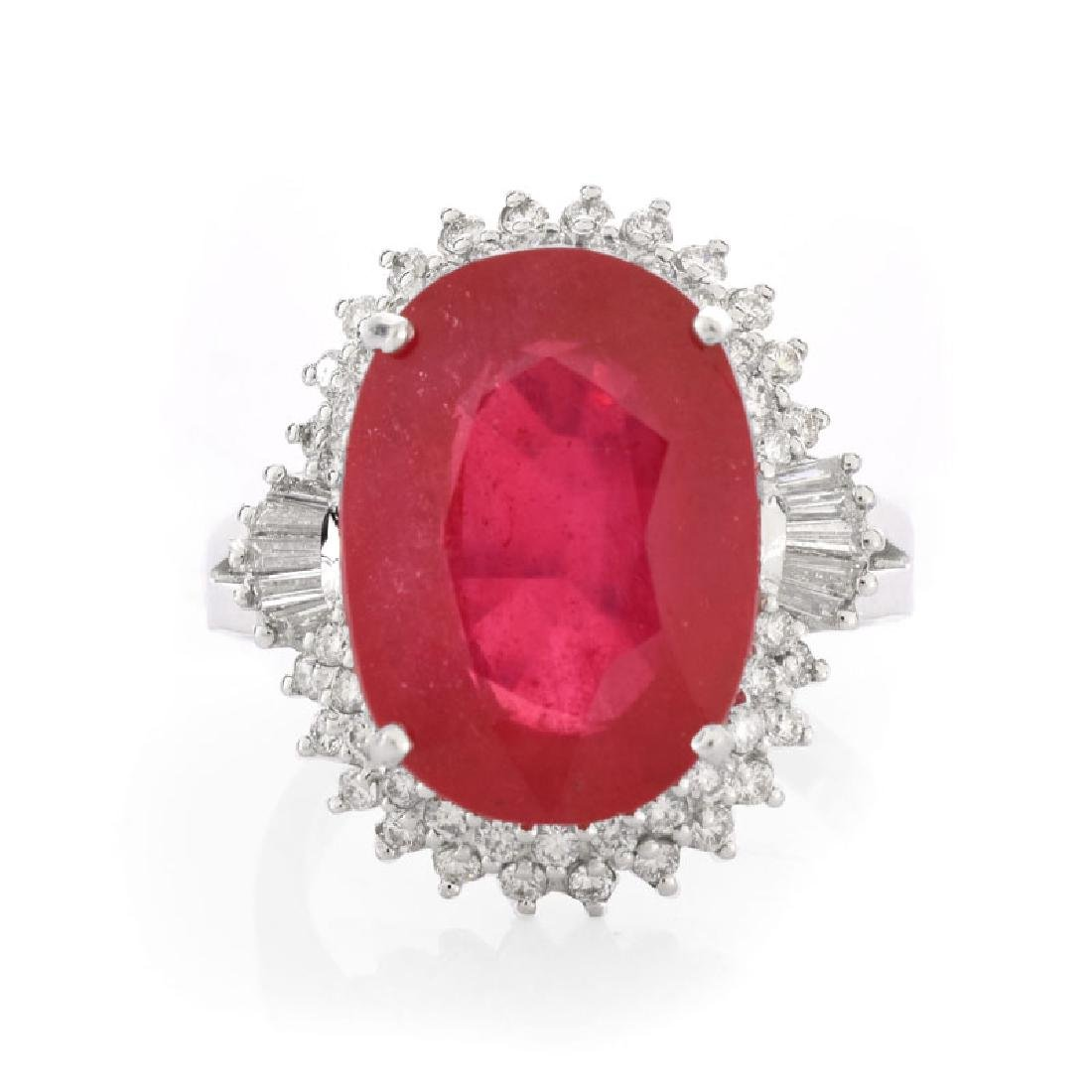 Approx. 11.66 Carat Synthetic Ruby, .75 Carat Round - 2