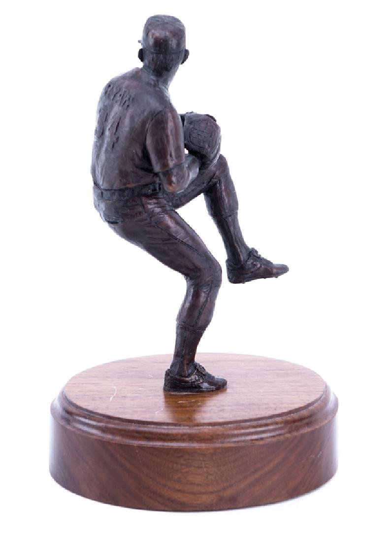 A Bronze Sculpture of Nolan Ryan Mounted on Wooden Base - 2