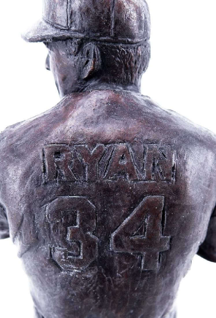 A Bronze Sculpture of Nolan Ryan Mounted on Wooden Base - 3