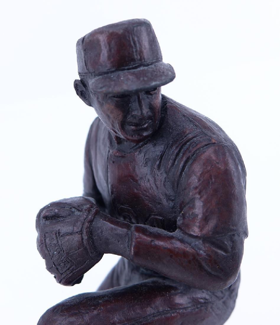 A Bronze Sculpture of Nolan Ryan Mounted on Wooden Base - 4