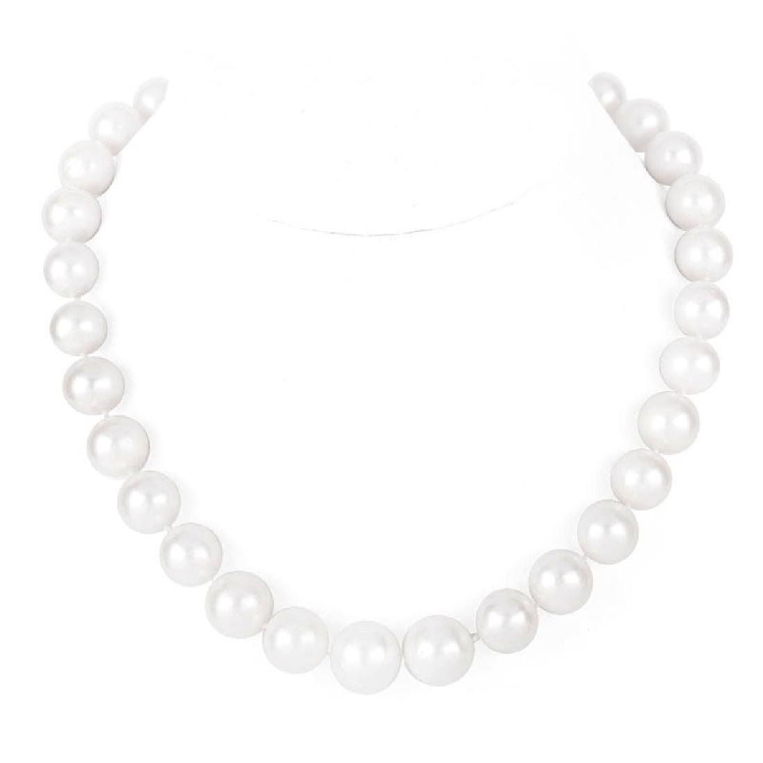Single Strand Graduated South Sea Pearl and 14 Karat