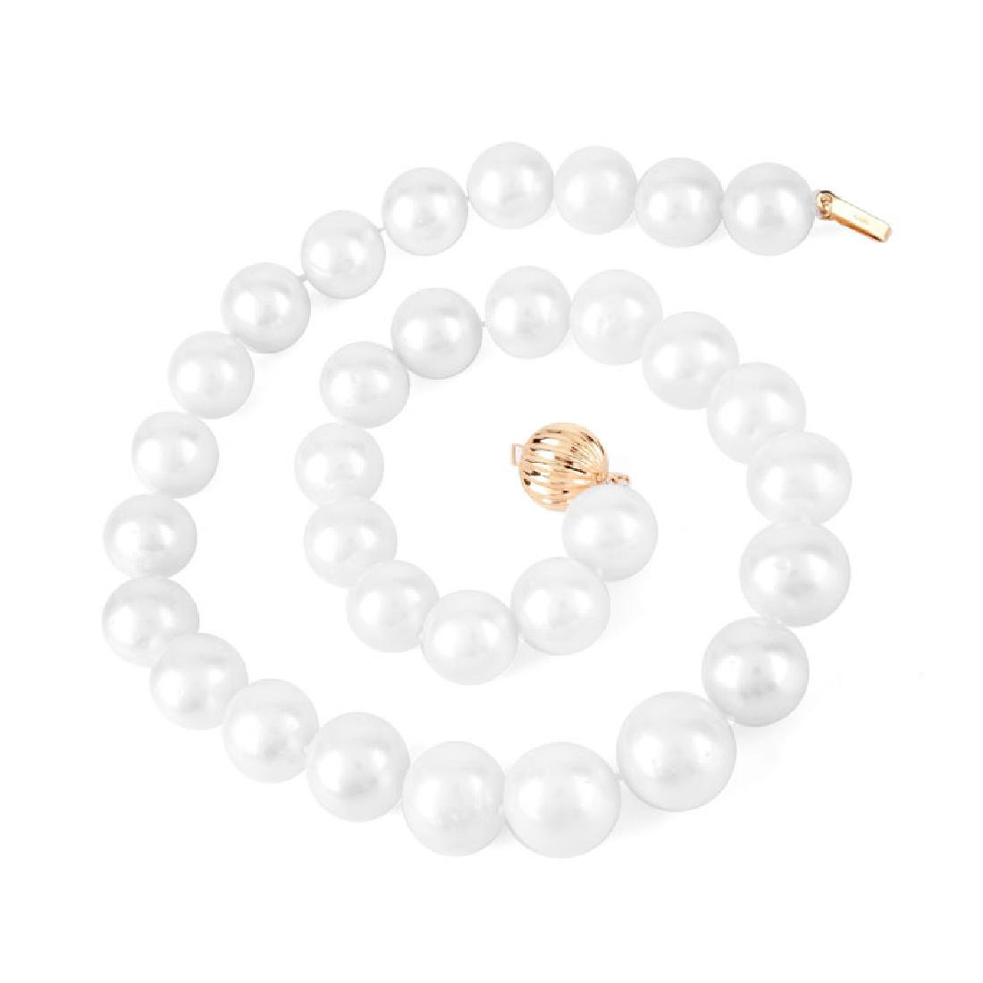 Single Strand Graduated South Sea Pearl and 14 Karat - 3