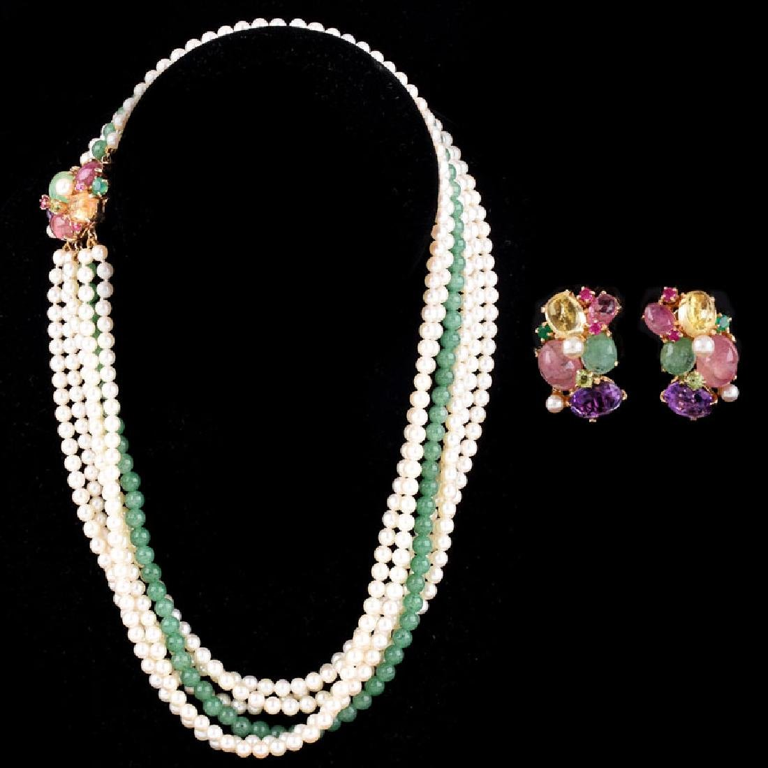 Vintage Pearl and Chalcedony Multi Strand Necklace with