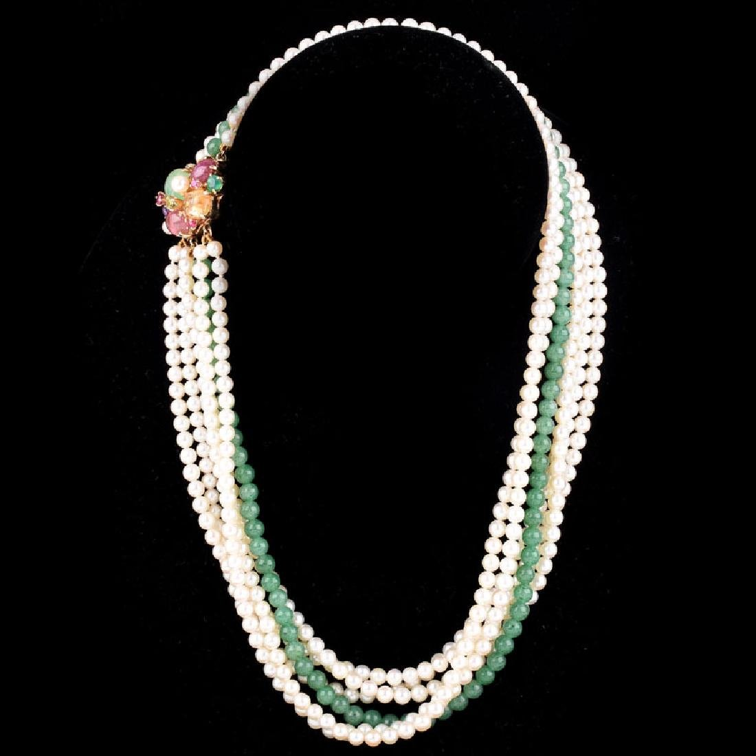 Vintage Pearl and Chalcedony Multi Strand Necklace with - 2