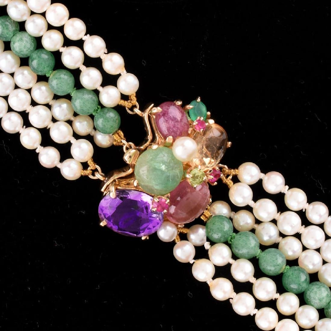 Vintage Pearl and Chalcedony Multi Strand Necklace with - 3