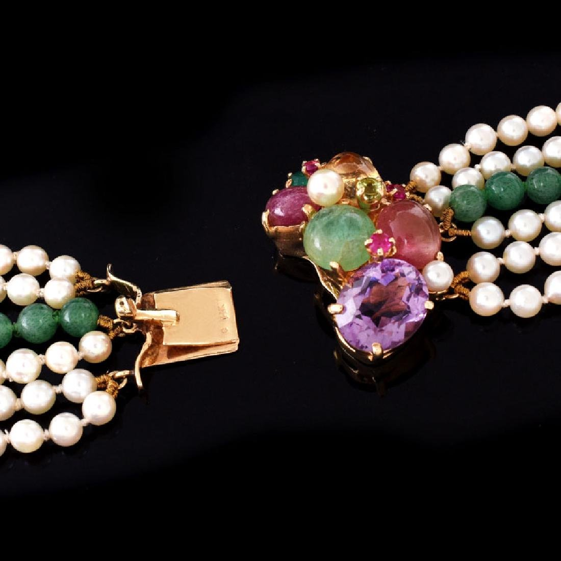 Vintage Pearl and Chalcedony Multi Strand Necklace with - 5