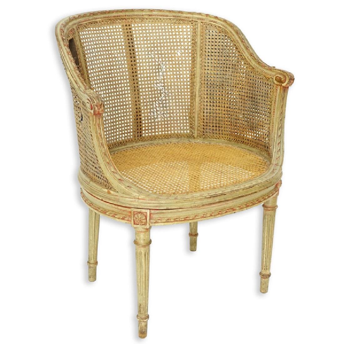 Early 20th Century Louis VXI Style Caned Vanity Chair