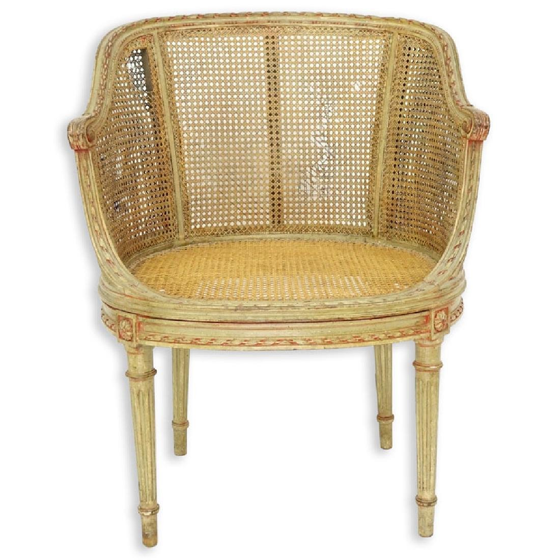 Early 20th Century Louis VXI Style Caned Vanity Chair - 2