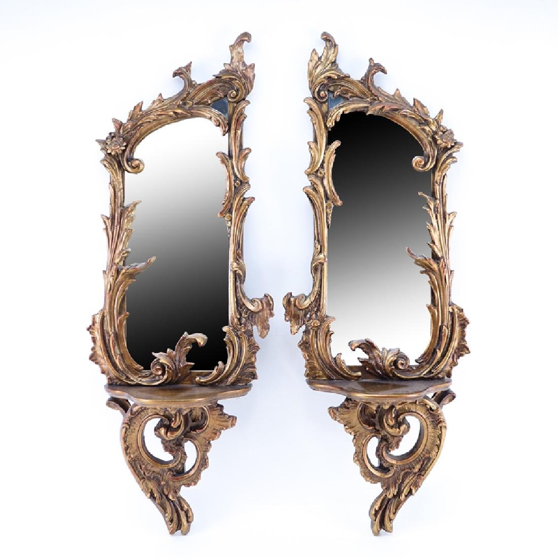 Pair of Mid 20th Century Rococo style Gilt Mirror