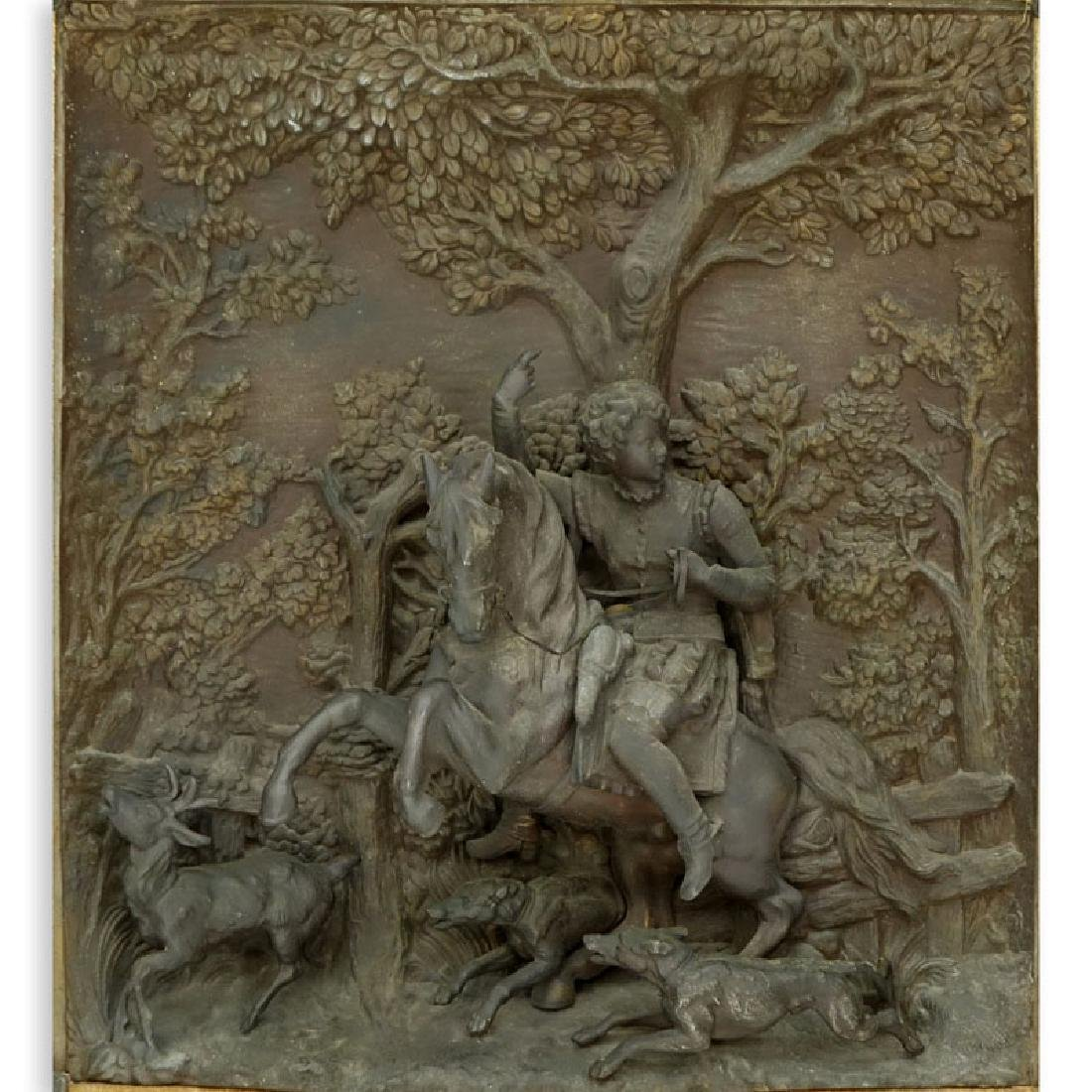 19/20th Century Bronze High Relief Plaque of a Figural