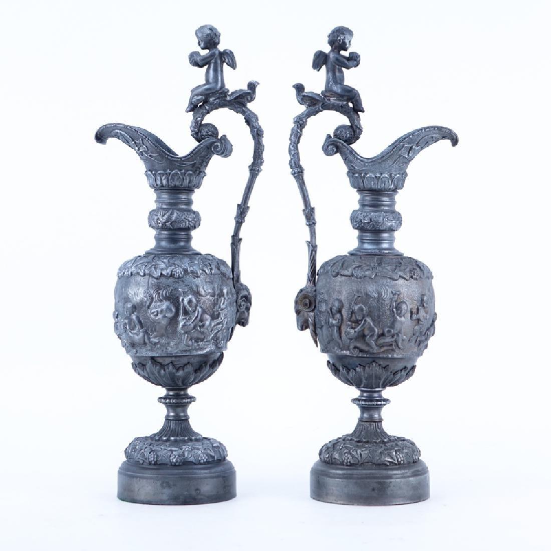Pair of 20th Century Neoclassical Style Metal Ewers