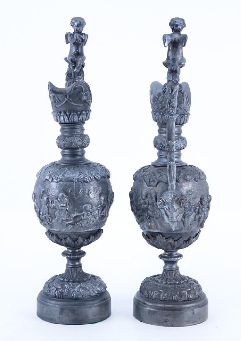 Pair of 20th Century Neoclassical Style Metal Ewers - 4
