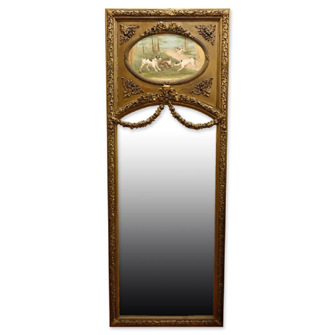 Large Louis XVI Style Gilt Carved Trumeau Mirror with