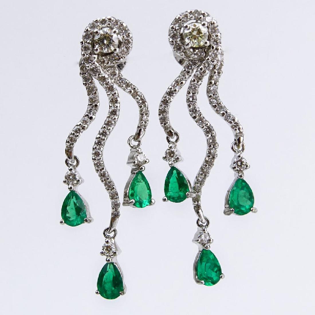 Approx. 1.80 Carat Pear Shape Emerald, 1.60 Carat Round