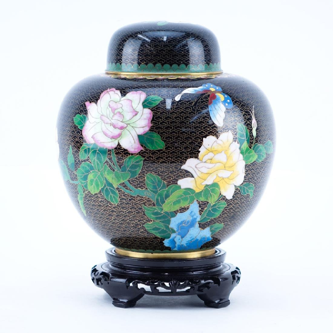20th Century Chinese Black and Floral Cloisonné Ginger