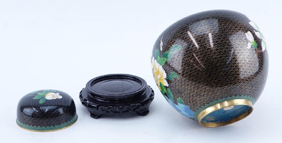 20th Century Chinese Black and Floral Cloisonné Ginger - 2