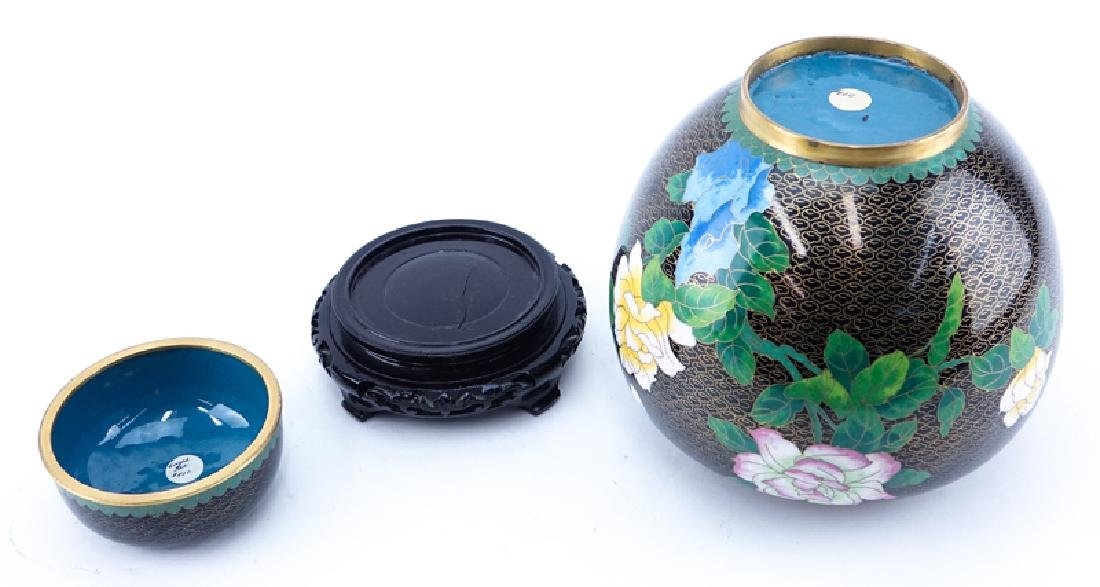 20th Century Chinese Black and Floral Cloisonné Ginger - 3