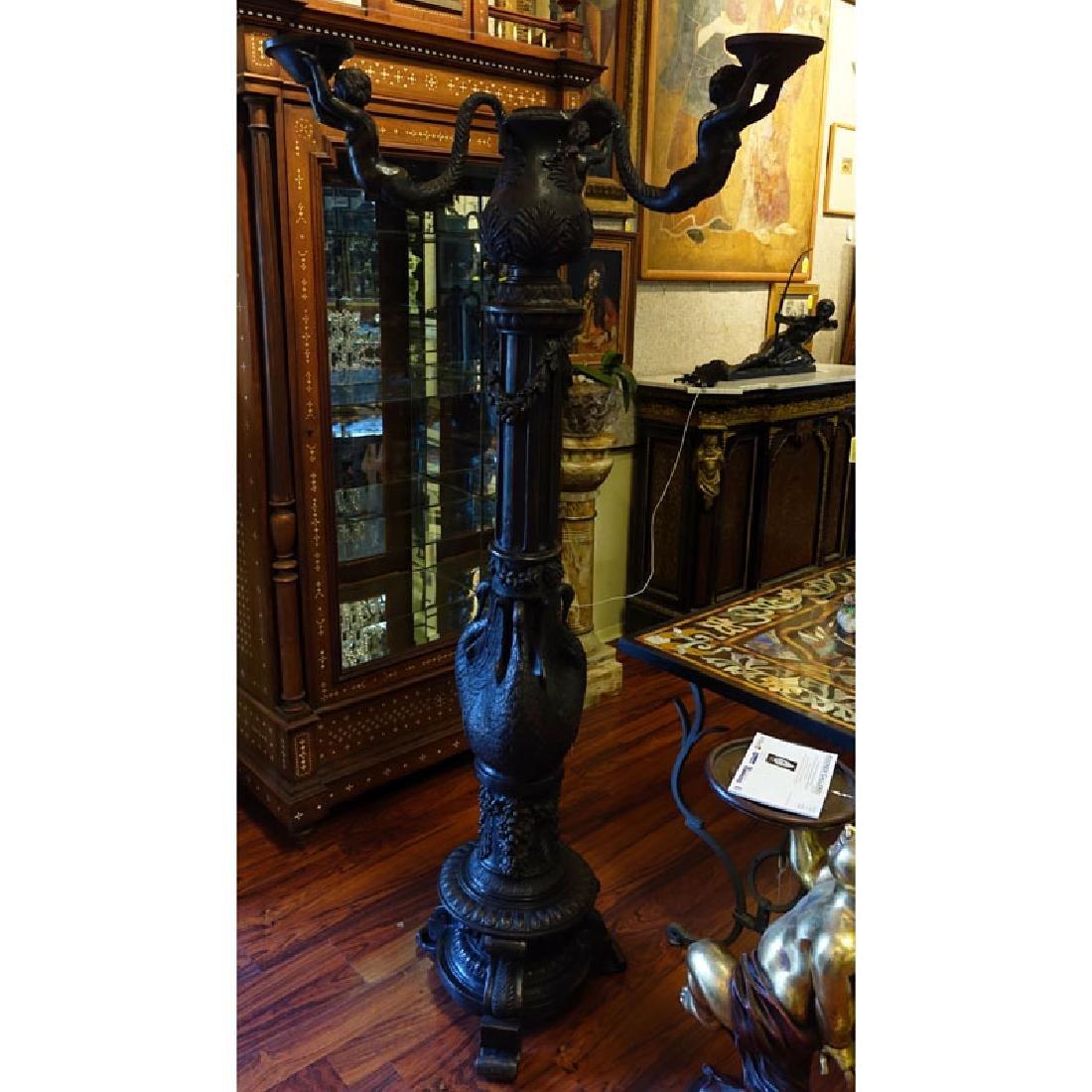 20th Century Empire Style Bronze Three Arm Figural