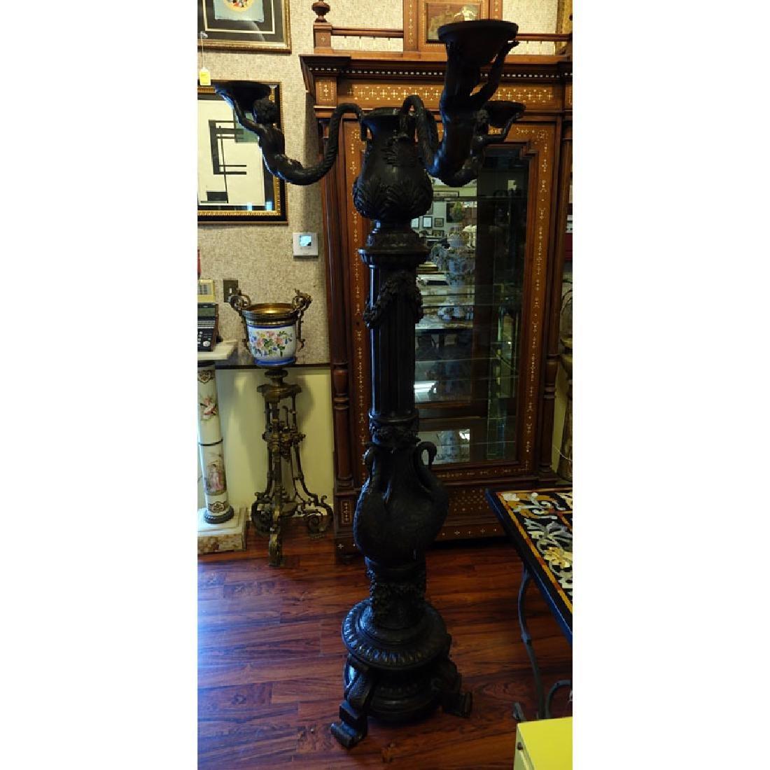 20th Century Empire Style Bronze Three Arm Figural - 4