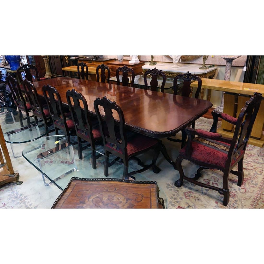 20th Century Chippendale Style Mahogany Carved Table