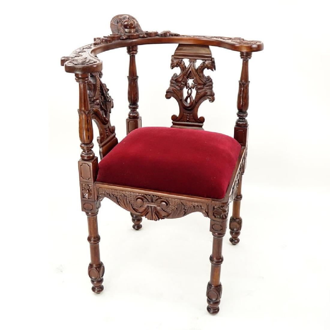 Vintage Carved Mahogany and Upholstered Corner Chair - 2