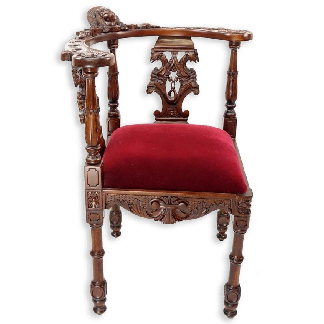 Vintage Carved Mahogany and Upholstered Corner Chair - 4