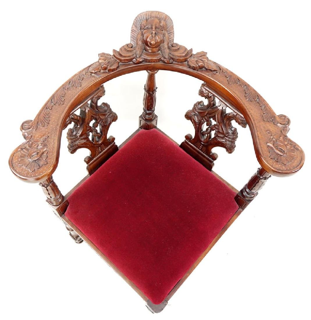 Vintage Carved Mahogany and Upholstered Corner Chair - 5
