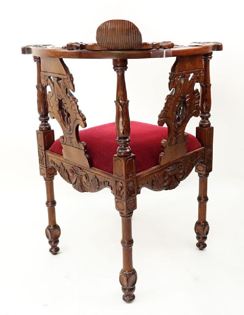 Vintage Carved Mahogany and Upholstered Corner Chair - 7