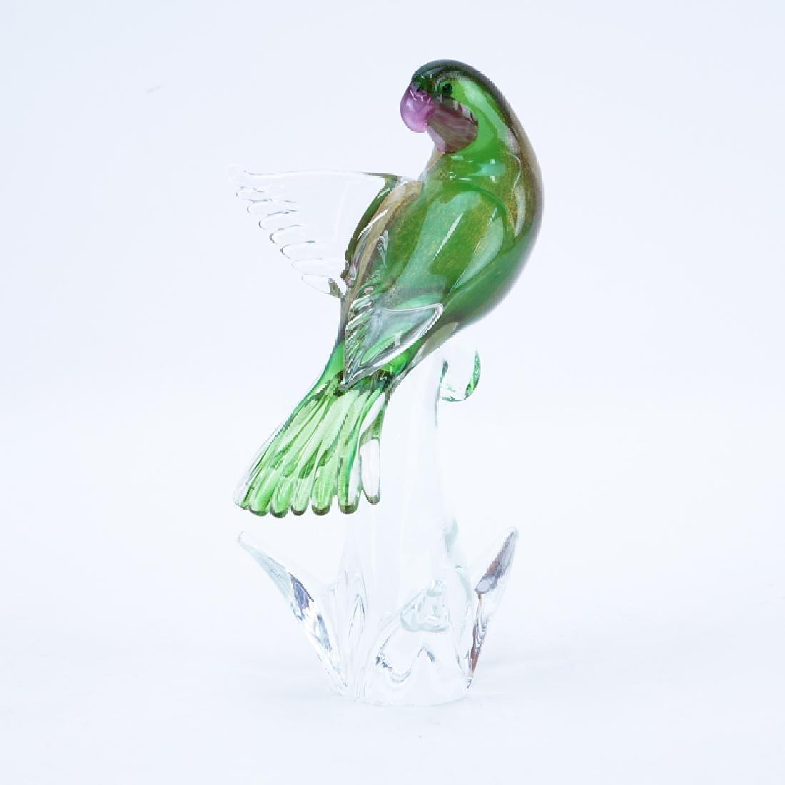 Mid Century Murano Art Glass Peach Faced Lovebird