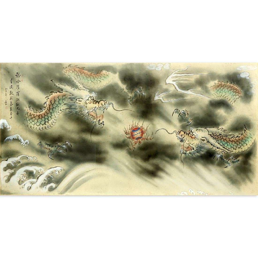 Palace Size Chinese Painting on Silk of Two Dragons,