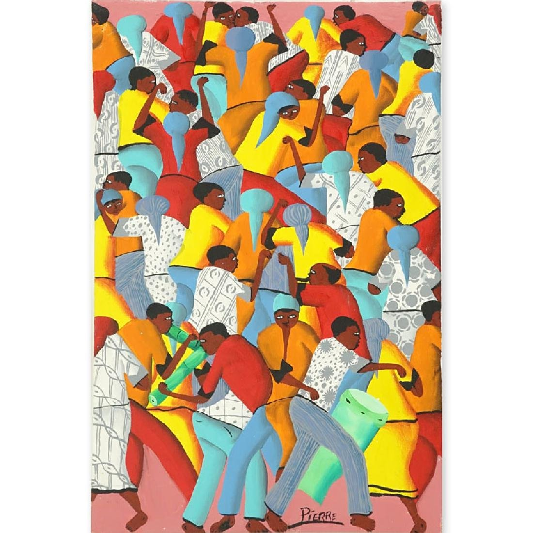 "20th Century Haitian Oil on Canvas ""Festival"" Signed"