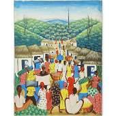 """20th Century Haitian Oil on Canvas """"Village Scene"""""""