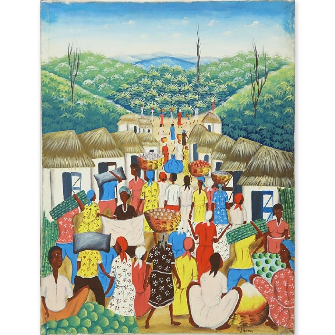 "20th Century Haitian Oil on Canvas ""Village Scene"""