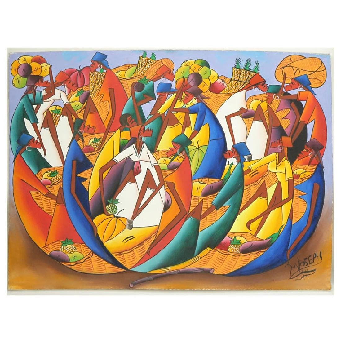 "20th Century Haitian Oil on Canvas ""Oval Merchants"""