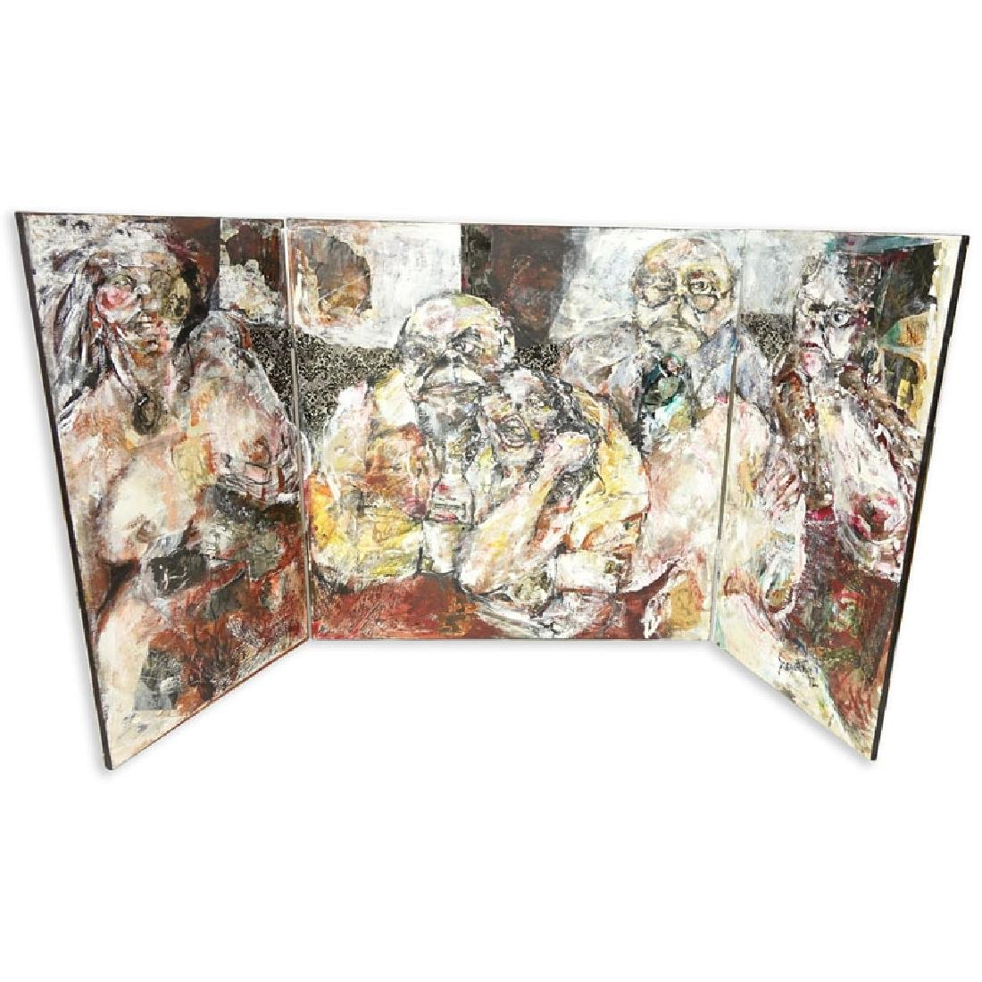 Large Tryptic Mixed Media on Canvas, Interior Scene