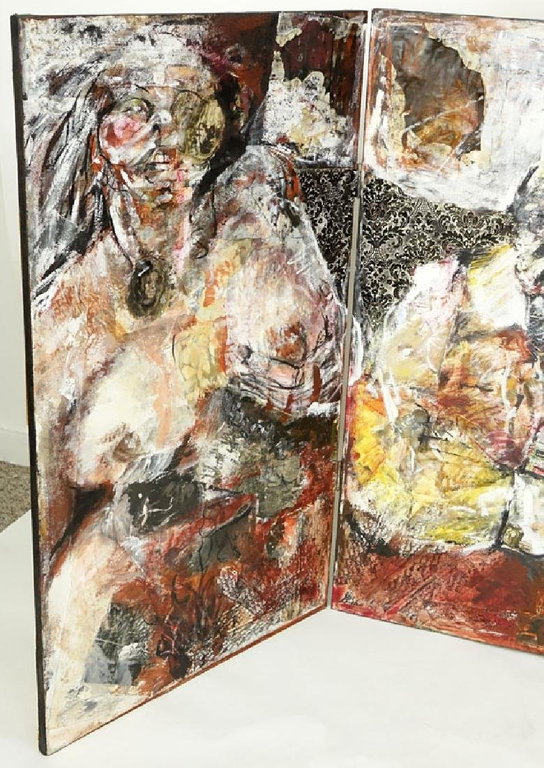 Large Tryptic Mixed Media on Canvas, Interior Scene - 2