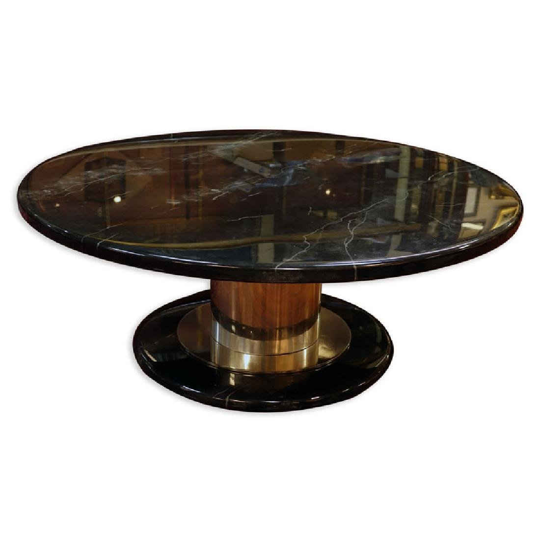 Mid Century Modern Black Marble Lacquer and Chrome