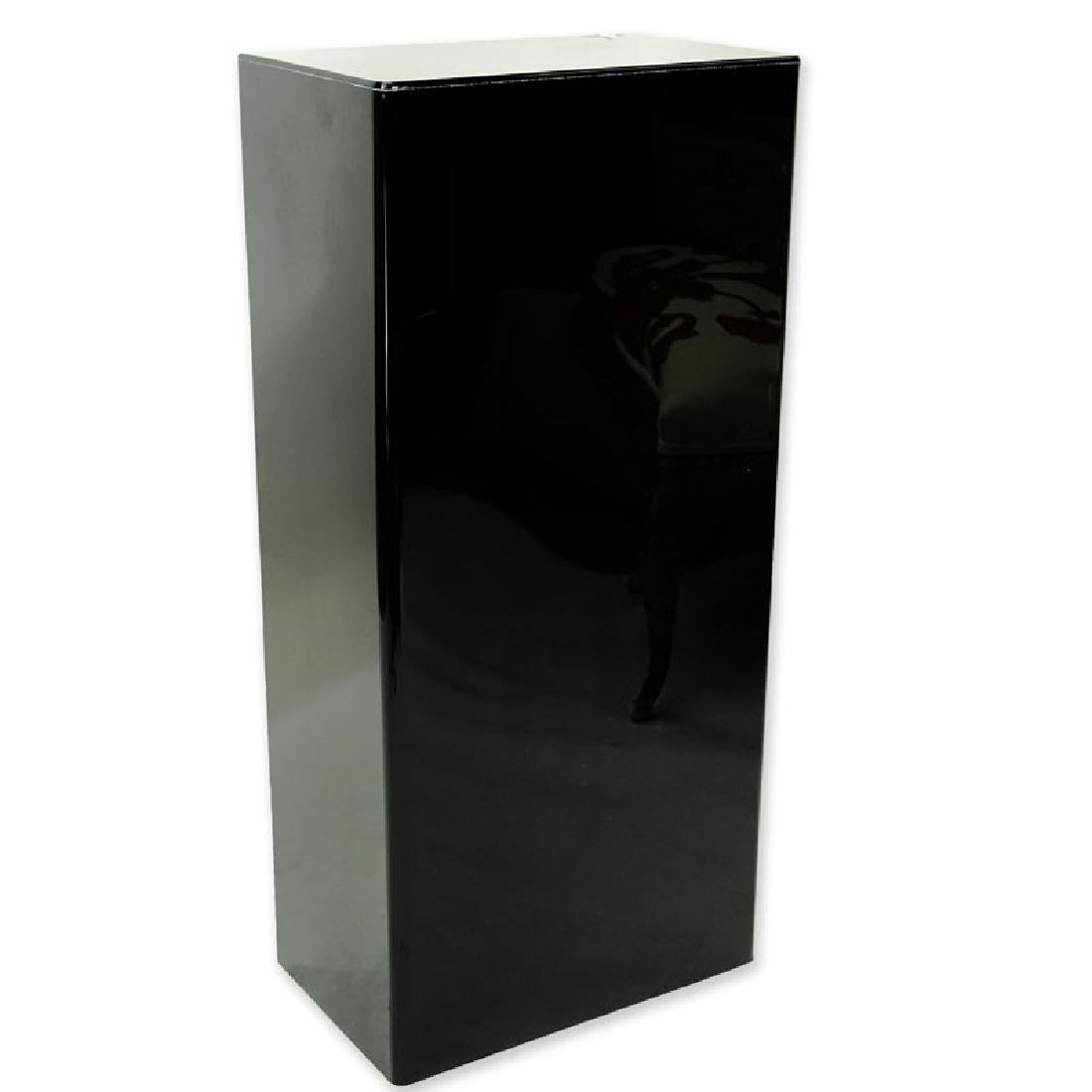 Modern Black Acrylic Pedestal Stand. Typical scuffs to