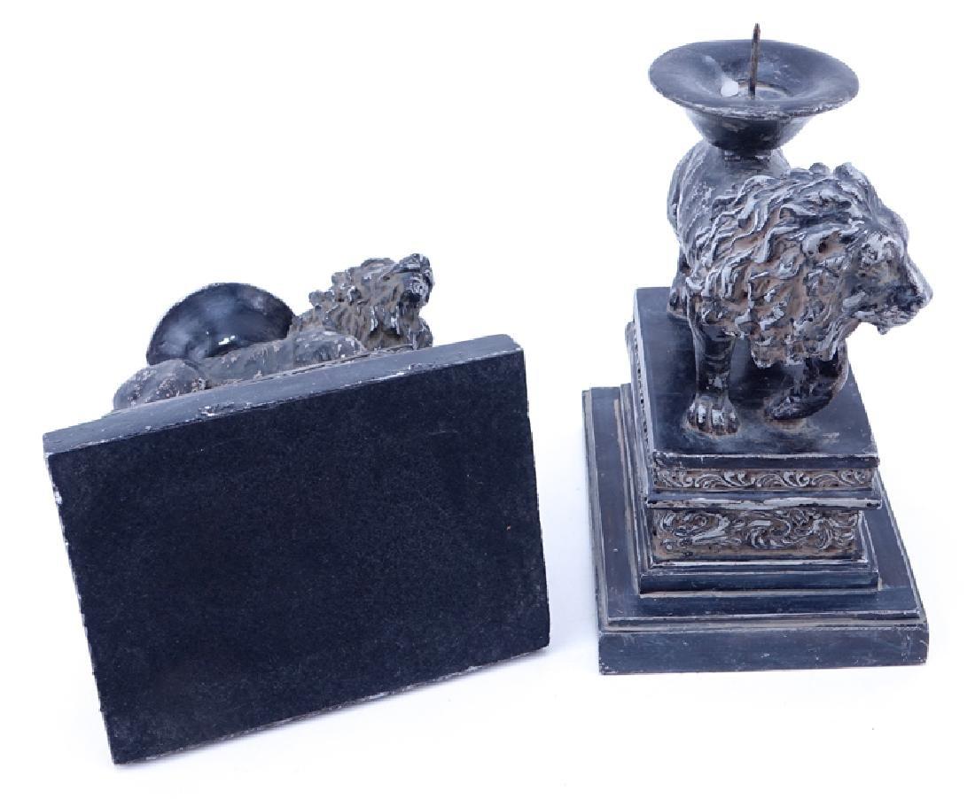 Pair of Renaissance Style Composition Lion Candlesticks - 3