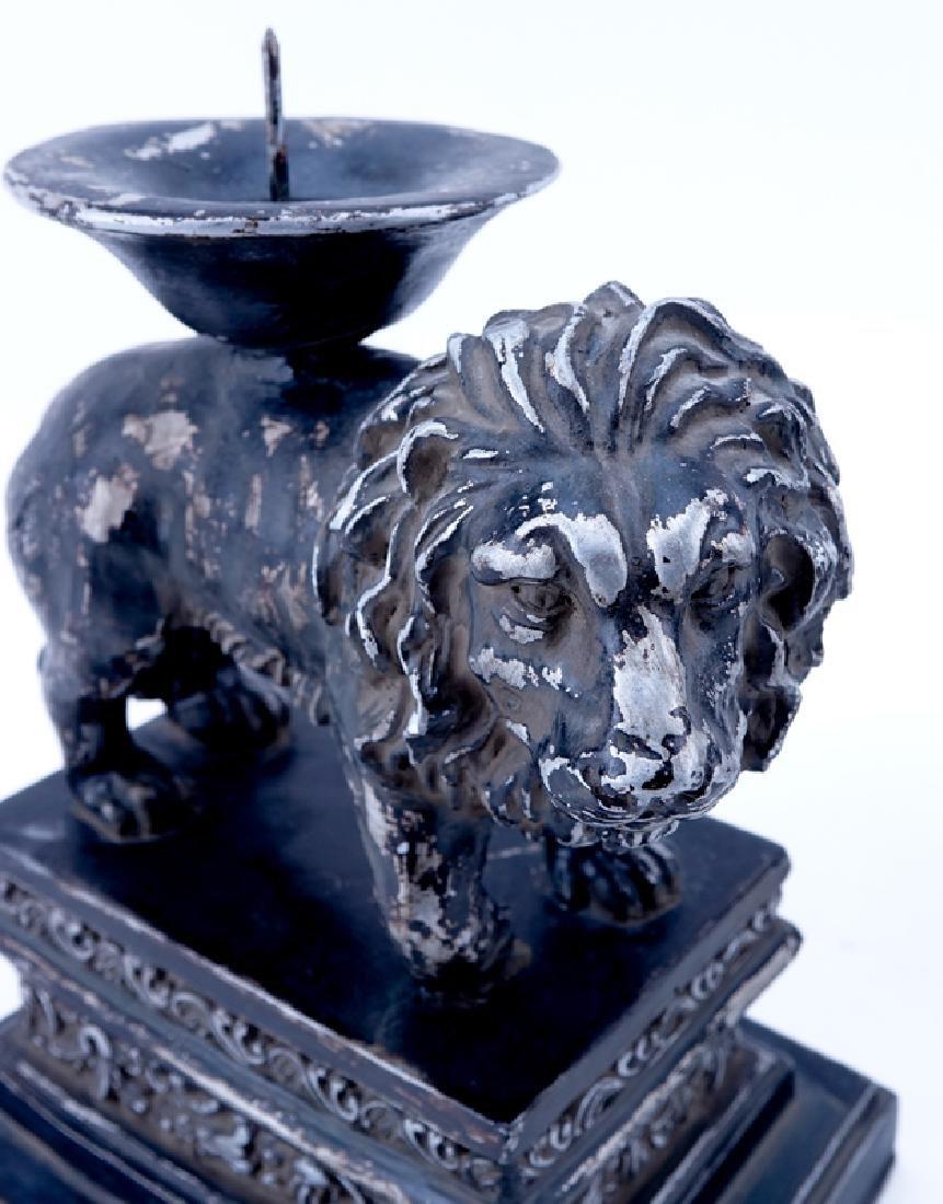 Pair of Renaissance Style Composition Lion Candlesticks - 4