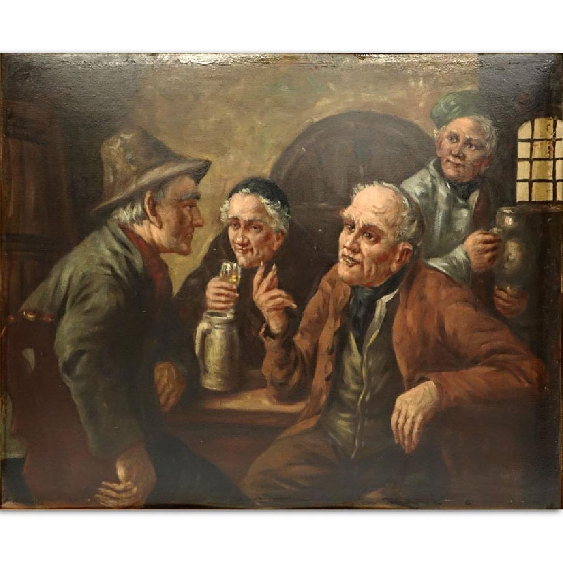 "Antique German Oil on Board ""The Tavern"" Signed to top"