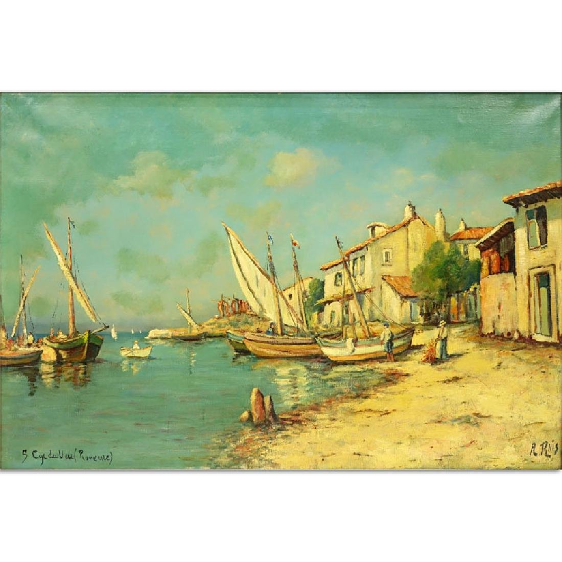 """Early 20th C. Oil on Canvas """"Sailboats"""" Signed A. Ruis?"""